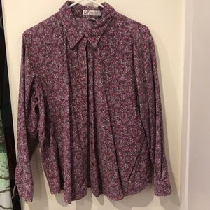 Corduroy button up flower top
